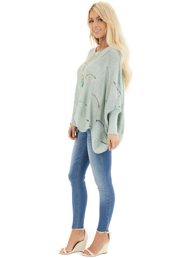 Vintage Mint Round Neck Sweater with Scalloped Edge Detail side full body