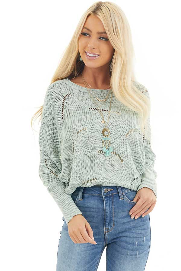 Vintage Mint Round Neck Sweater with Scalloped Edge Detail front close up