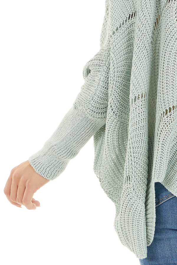 Vintage Mint Round Neck Sweater with Scalloped Edge Detail detail