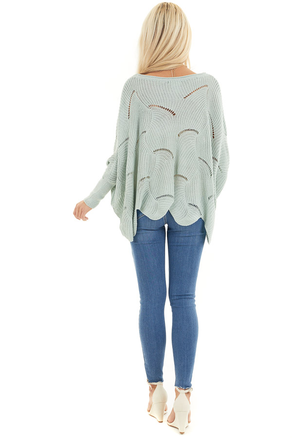 Vintage Mint Round Neck Sweater with Scalloped Edge Detail back full body