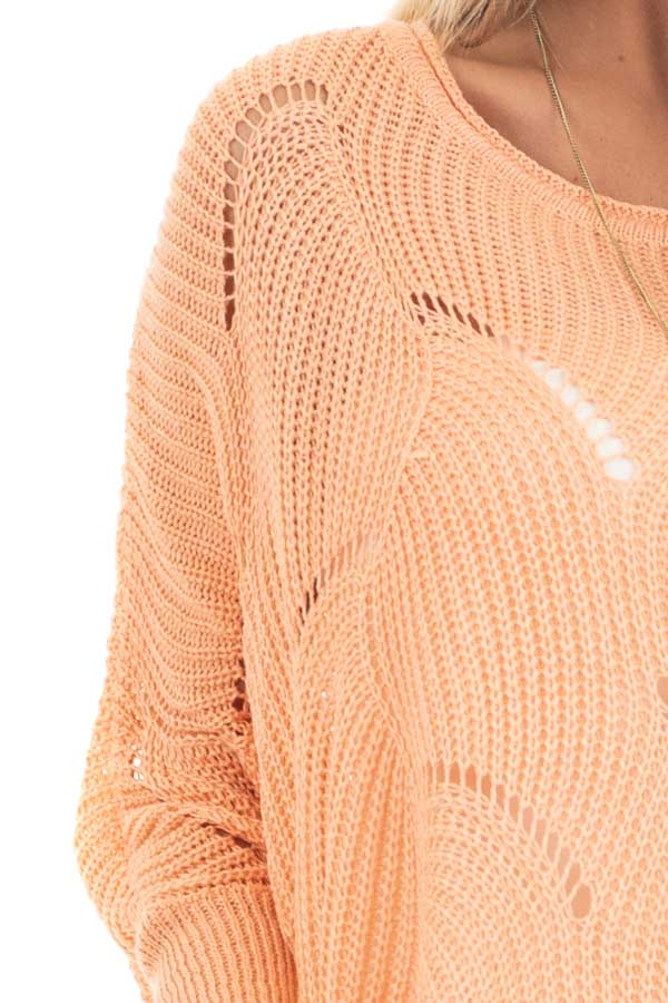 Bright Peach Round Neck Sweater with Scalloped Edge Detail detail