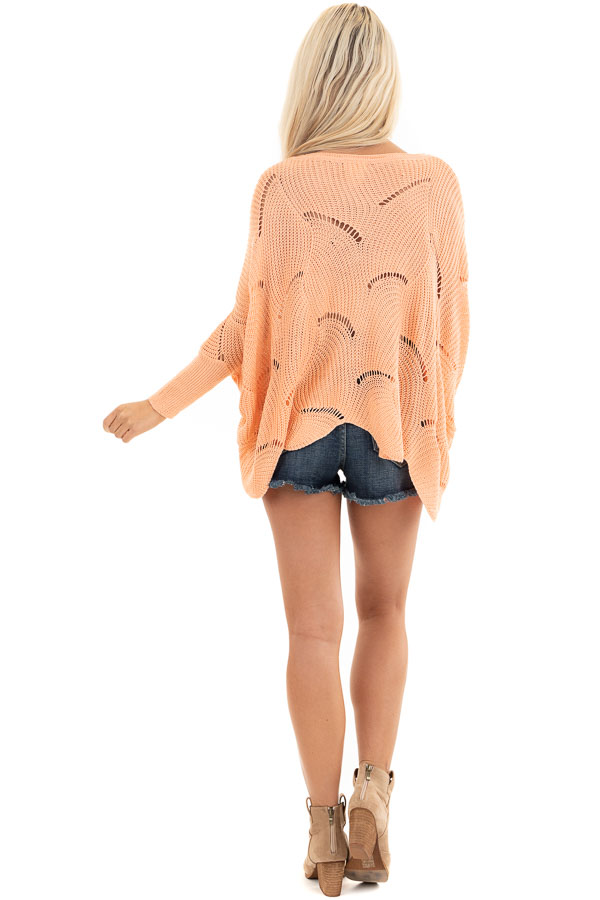 Bright Peach Round Neck Sweater with Scalloped Edge Detail back full body