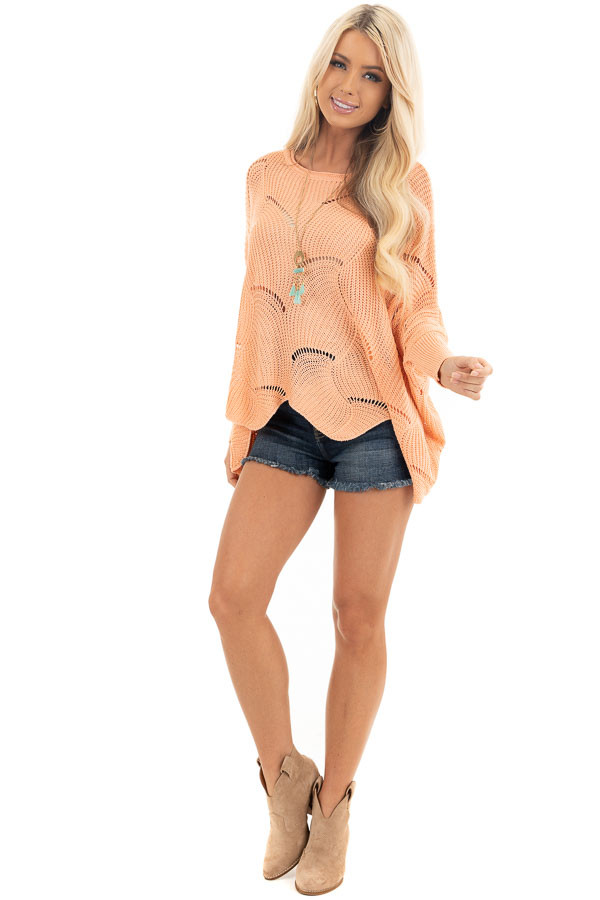 Bright Peach Round Neck Sweater with Scalloped Edge Detail front full body
