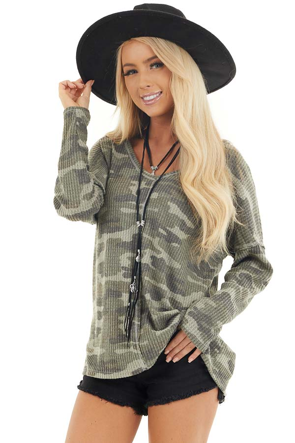 Faded Ash Camo Waffle Knit Long Sleeve Top with V Neck front close up