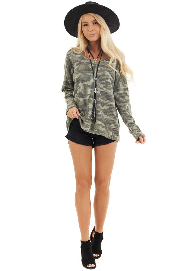 Faded Ash Camo Waffle Knit Long Sleeve Top with V Neck front full body