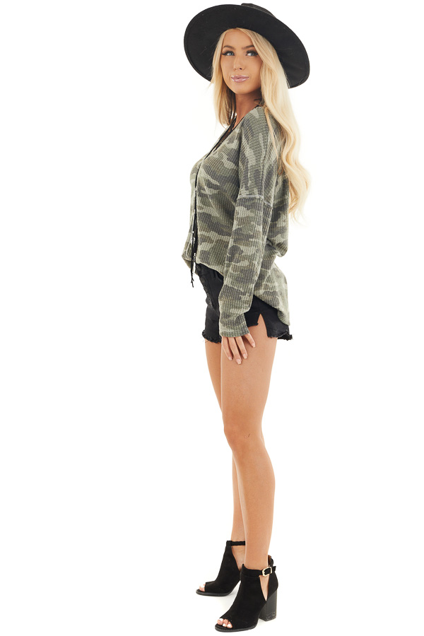 Faded Ash Camo Waffle Knit Long Sleeve Top with V Neck side full body