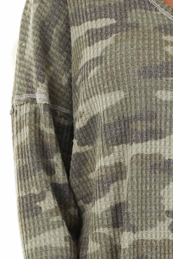 Faded Ash Camo Waffle Knit Long Sleeve Top with V Neck detail