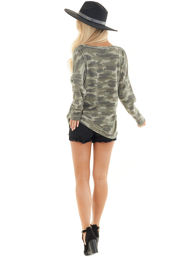 Faded Ash Camo Waffle Knit Long Sleeve Top with V Neck back full body