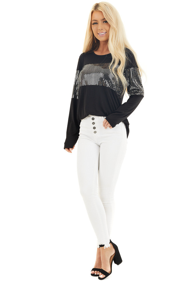 Black Knit Top with Silver Sequin Details and Long Sleeves front full body