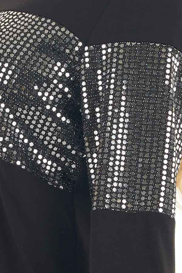 Black Knit Top with Silver Sequin Details and Long Sleeves detail