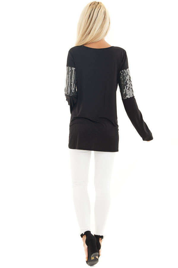 Black Knit Top with Silver Sequin Details and Long Sleeves back full body