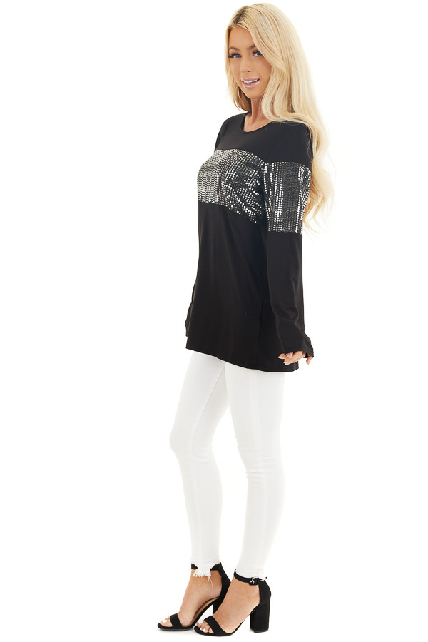 Black Knit Top with Silver Sequin Details and Long Sleeves side full body
