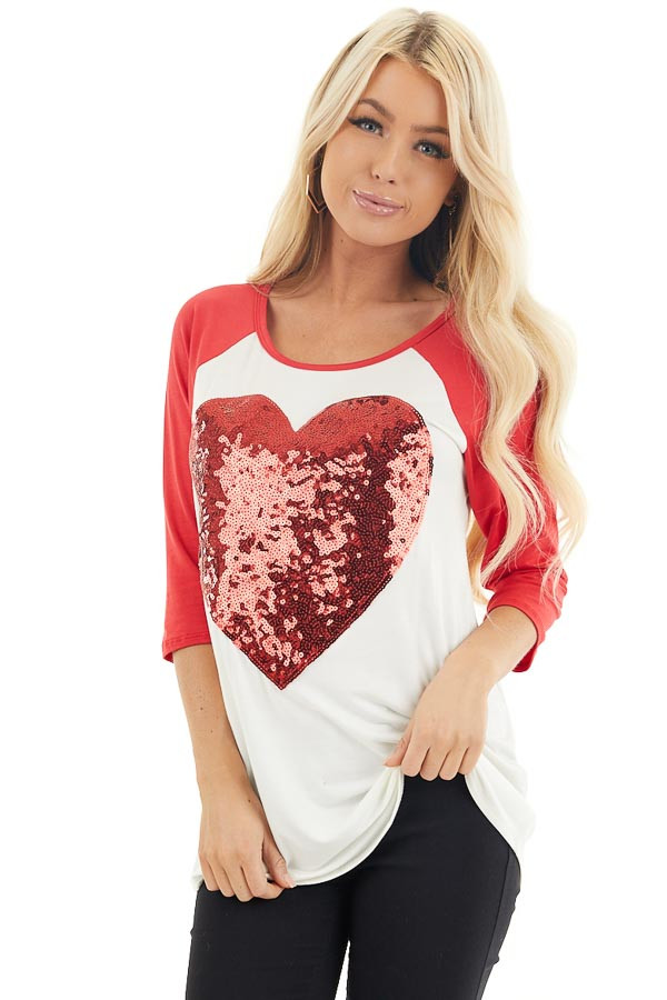 Ivory and Lipstick Red Raglan Sleeve Top with Sequin Heart front close up