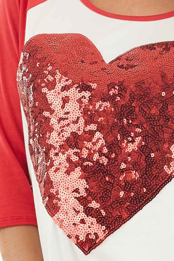 Ivory and Lipstick Red Raglan Sleeve Top with Sequin Heart detail