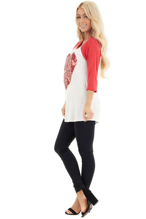 Ivory and Lipstick Red Raglan Sleeve Top with Sequin Heart side full body