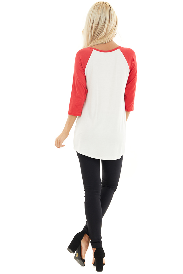 Ivory and Lipstick Red Raglan Sleeve Top with Sequin Heart back full body