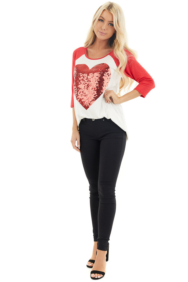 Ivory and Lipstick Red Raglan Sleeve Top with Sequin Heart front full body