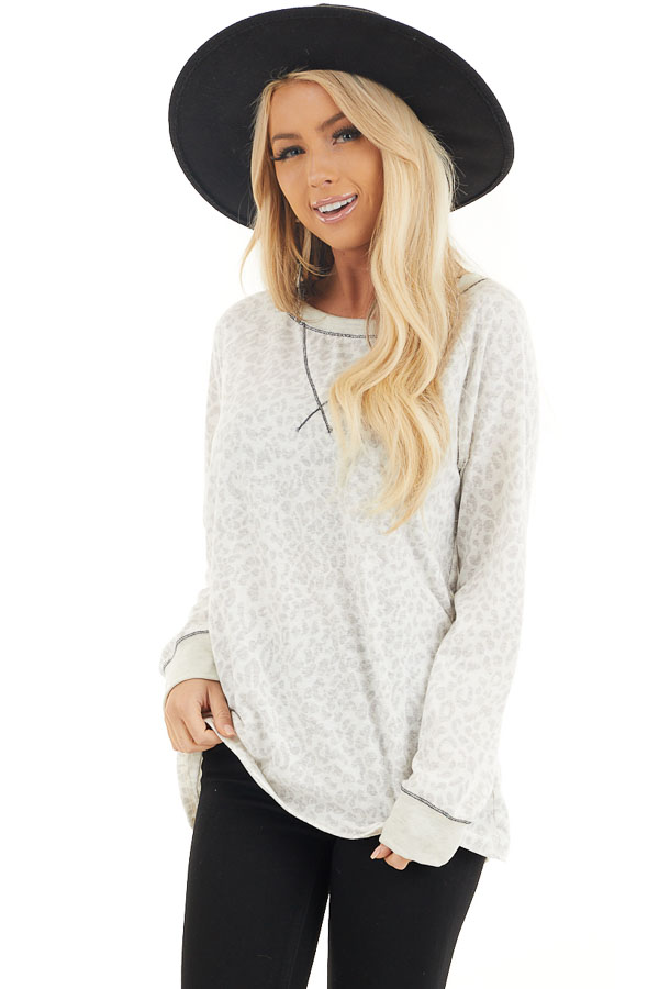 Ivory and Heather Grey Leopard Print Long Sleeve Knit Top front close up