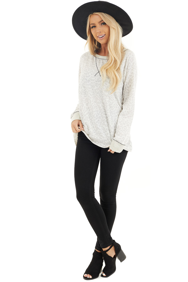 Ivory and Heather Grey Leopard Print Long Sleeve Knit Top front full body