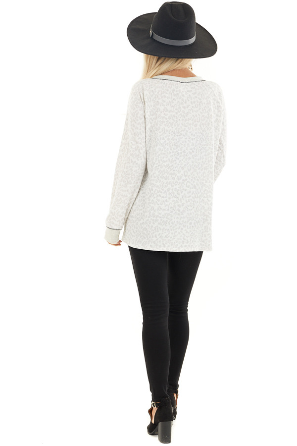 Ivory and Heather Grey Leopard Print Long Sleeve Knit Top back full body