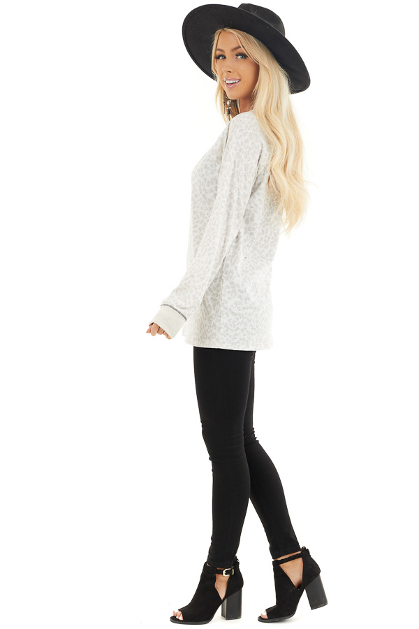 Ivory and Heather Grey Leopard Print Long Sleeve Knit Top side full body