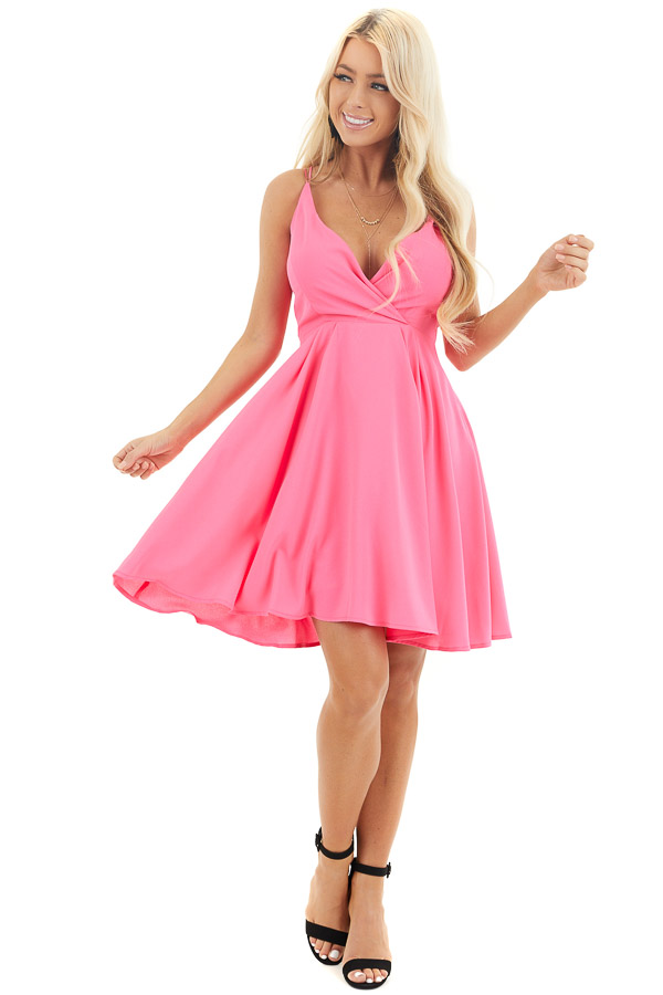 Hot Pink Spaghetti Strap Surplice Short Dress front full body