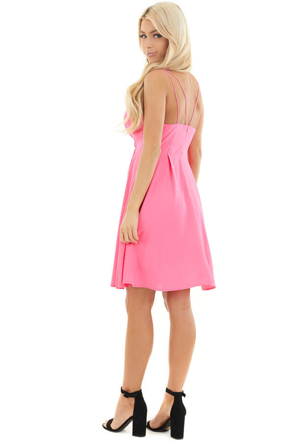Hot Pink Spaghetti Strap Surplice Short Dress side full body
