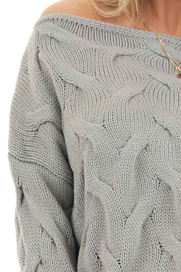 Heather Grey Textured Knit Off the Shoulder Sweater detail