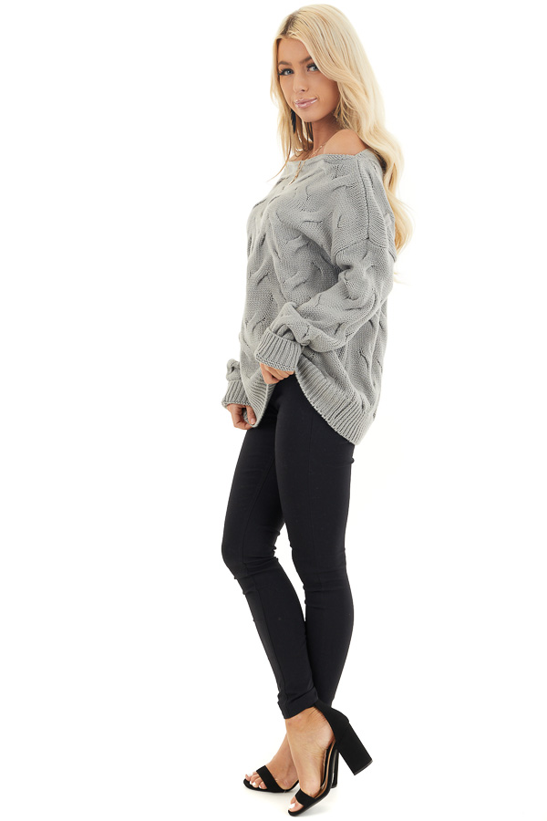 Heather Grey Textured Knit Off the Shoulder Sweater side full body