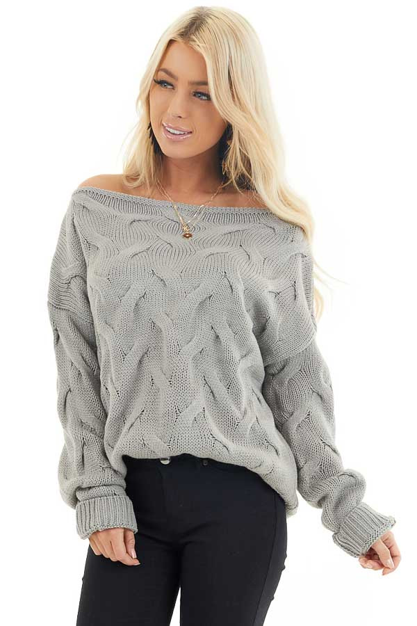 Heather Grey Textured Knit Off the Shoulder Sweater front close up