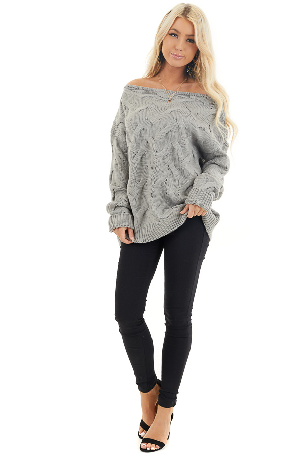 Heather Grey Textured Knit Off the Shoulder Sweater front full body