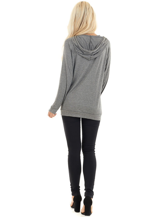 Charcoal and Black Sequin Long Sleeve Hooded Top back full body