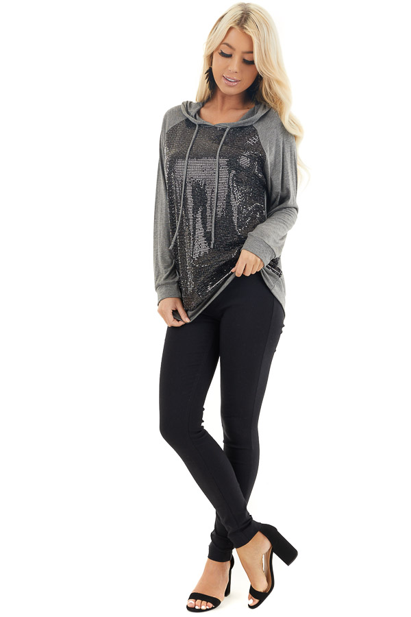 Charcoal and Black Sequin Long Sleeve Hooded Top front full body