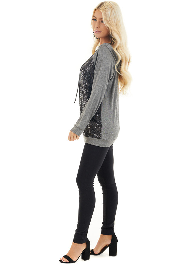 Charcoal and Black Sequin Long Sleeve Hooded Top side full body