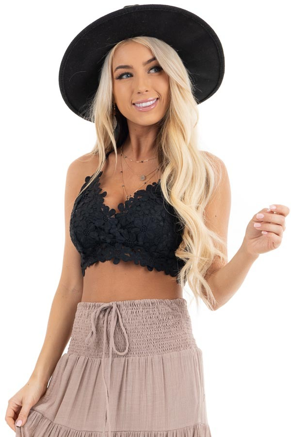 Black Floral Lace Bralette with Smocked Back front view
