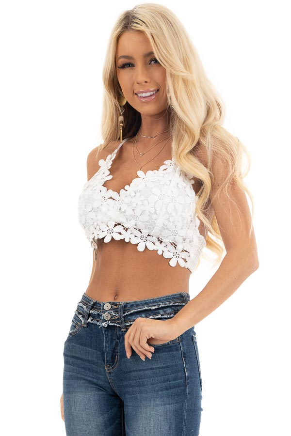 Ivory Floral Lace Bralette with Smocked Back front close up