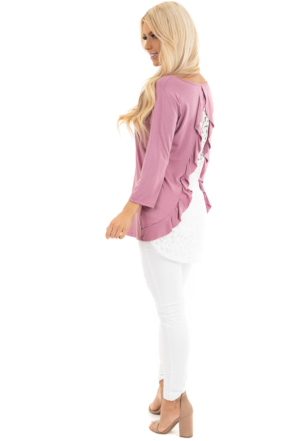 Orchid 3/4 Sleeve Knit Top with Sheer Lace Back side full body
