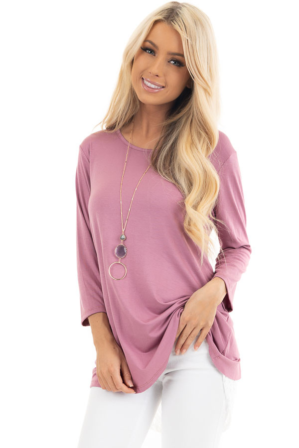 Orchid 3/4 Sleeve Knit Top with Sheer Lace Back front close up