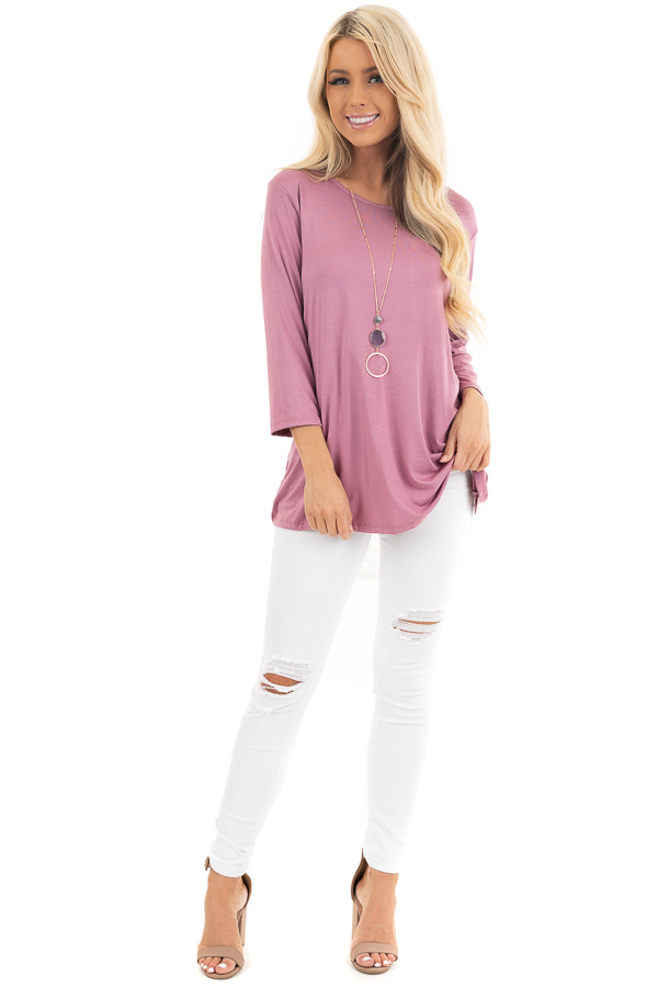 Orchid 3/4 Sleeve Knit Top with Sheer Lace Back front full body