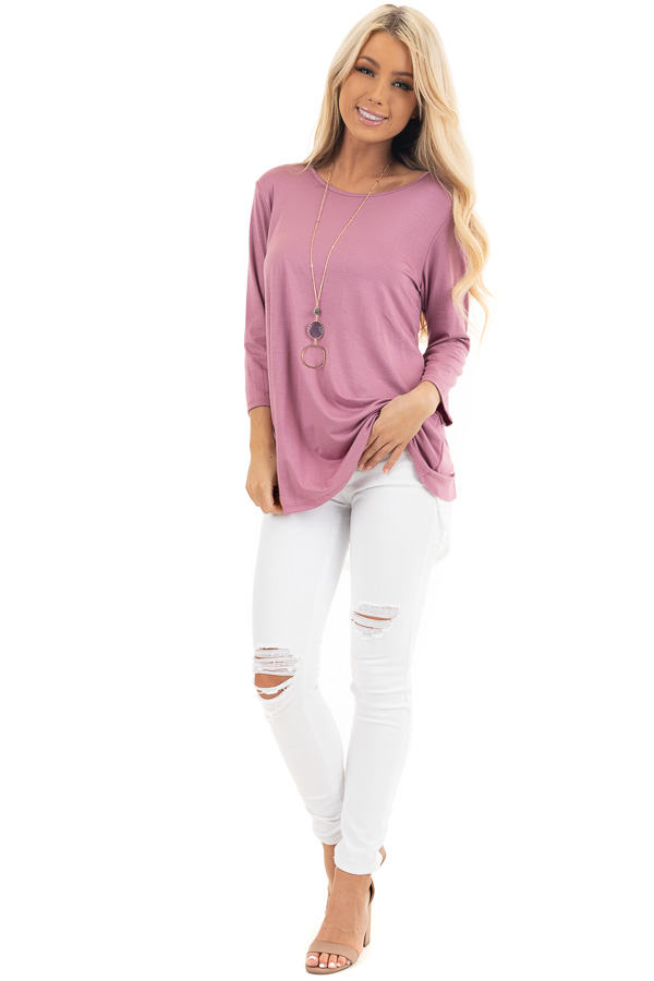 Dusty Blush 3/4 Sleeve Knit Top with Sheer Lace Back front full body