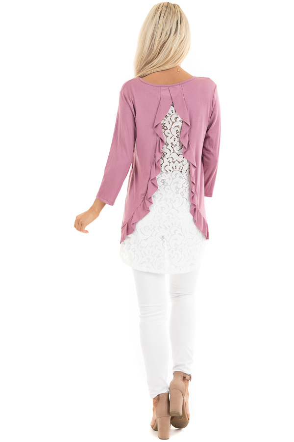 Orchid 3/4 Sleeve Knit Top with Sheer Lace Back back full body