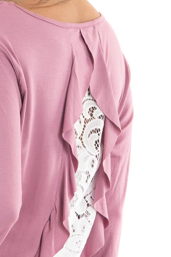Orchid 3/4 Sleeve Knit Top with Sheer Lace Back detail