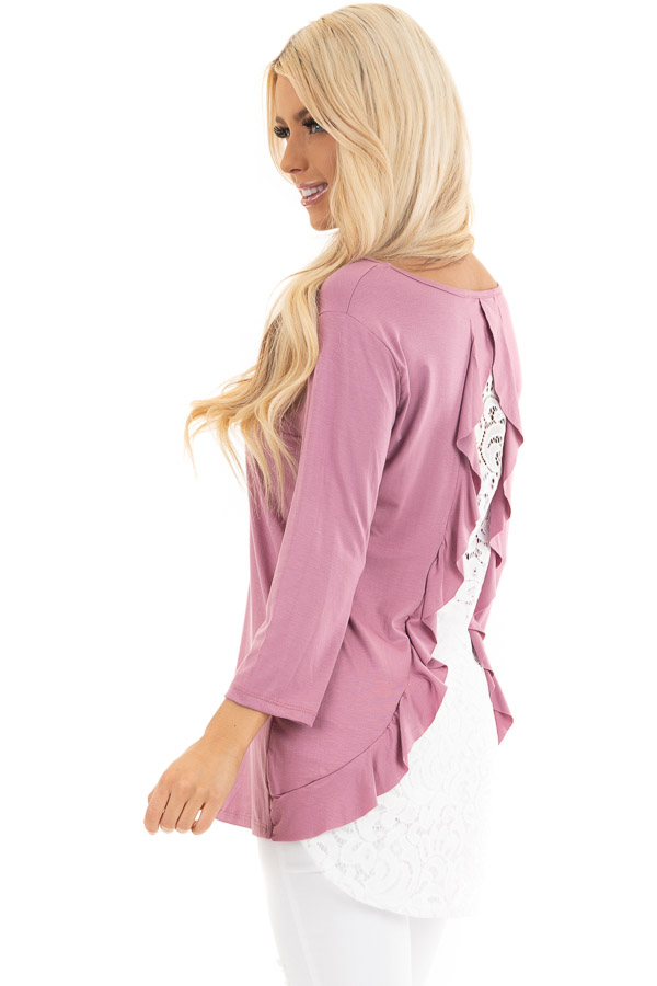 Orchid 3/4 Sleeve Knit Top with Sheer Lace Back back side close up