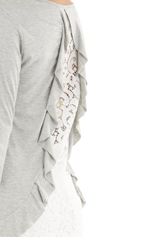 Heather Grey 3/4 Sleeve Knit Top with Sheer Lace Back detail