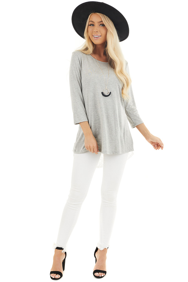 Heather Grey 3/4 Sleeve Knit Top with Sheer Lace Back front full body