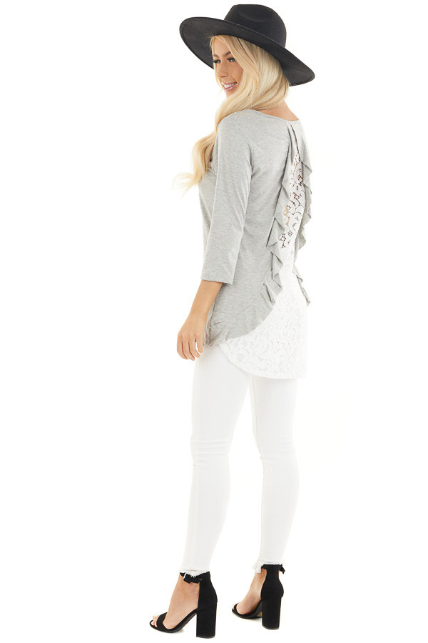 Heather Grey 3/4 Sleeve Knit Top with Sheer Lace Back side full body