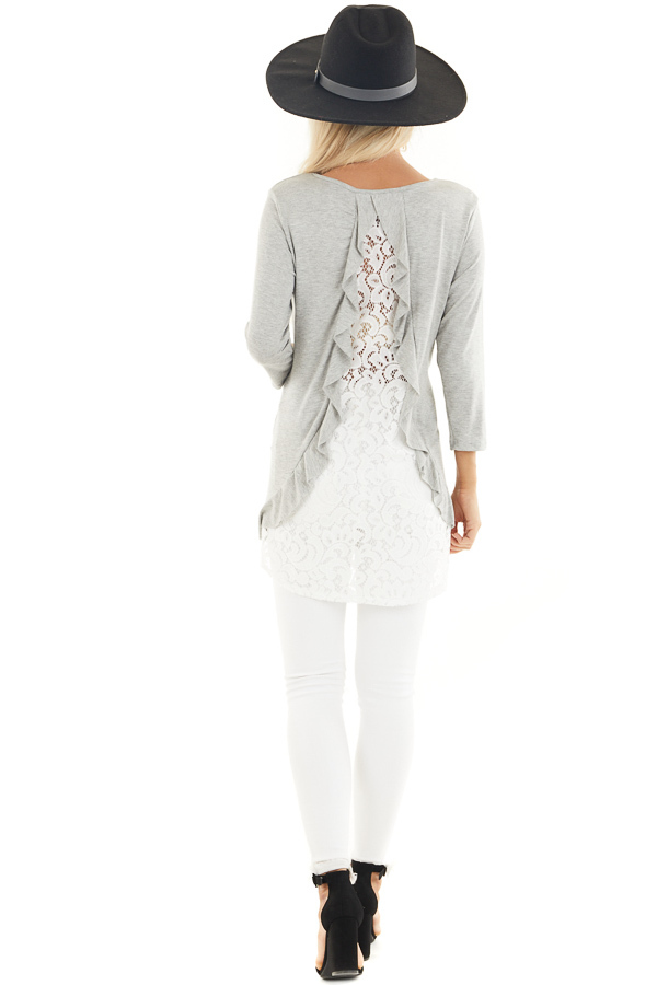Heather Grey 3/4 Sleeve Knit Top with Sheer Lace Back back full body