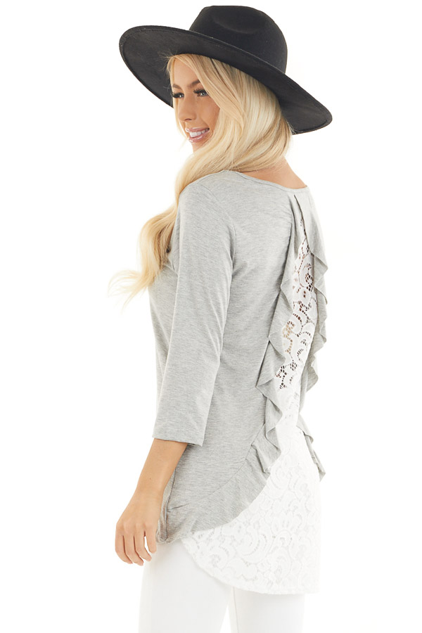Heather Grey 3/4 Sleeve Knit Top with Sheer Lace Back back side close up