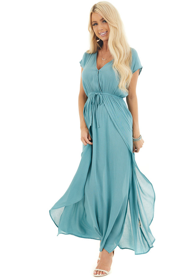 Teal Surplice Style Maxi Dress with Overlay and Side Slits front full body