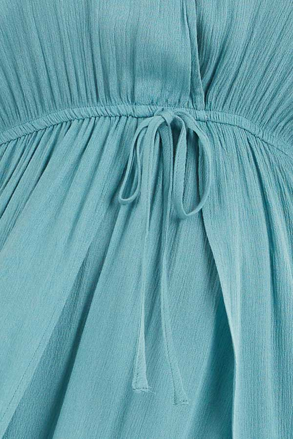 Teal Surplice Style Maxi Dress with Overlay and Side Slits detail